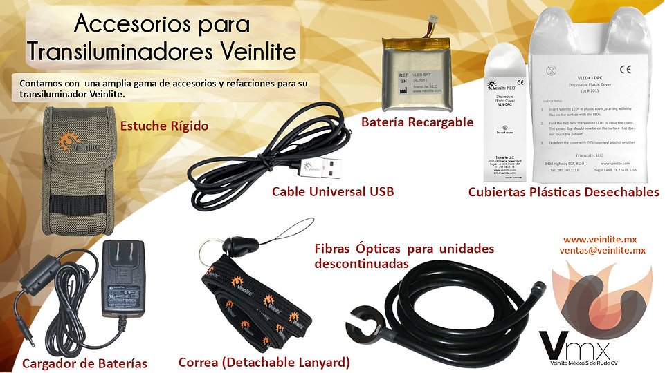 Accesorios para transiluminadores Veinlite. Cargador, Cable USB, Estuches Rígidos, Baterías, Fibra Óptica, Fundas Plásticas