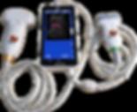Ultrasonido de mano VMX-MU3LC Plus con Doppler Color en tiempo real. Cuenta con pantalla AMOLED y soporta 2 transductores: Lineal y Convexo