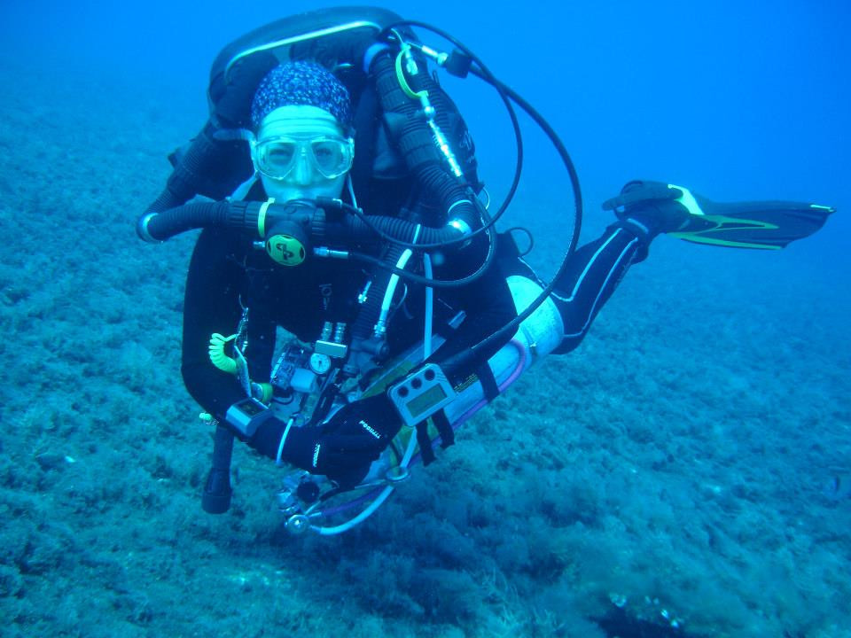 Fee, our Diving Officer, in full rebreather kit.