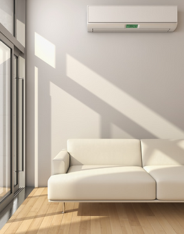 Wall Mounted Air Conditioning Unit Above Sofa