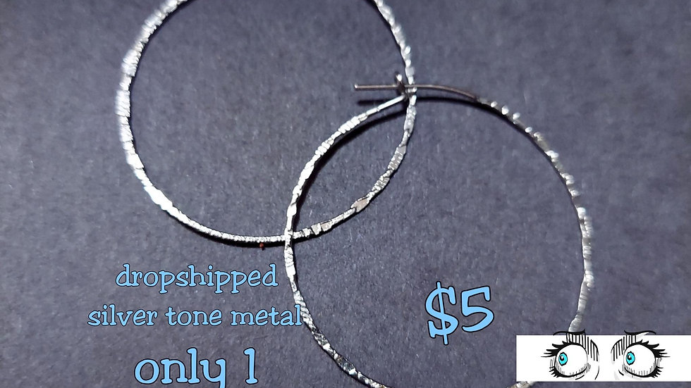 Silver tone Hoops earring