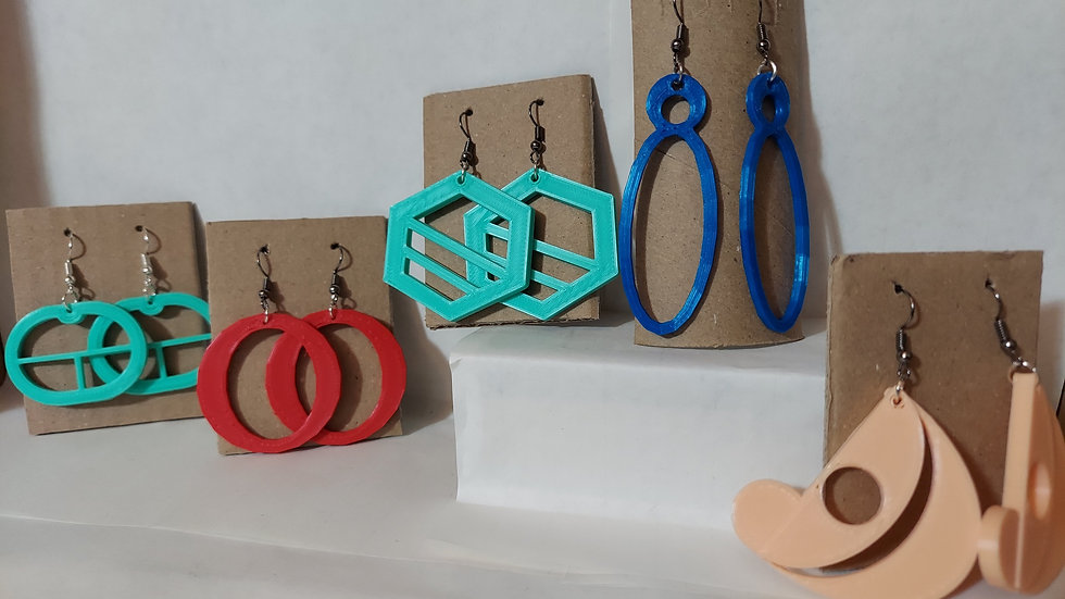 3D printed abstract earrings (costume)