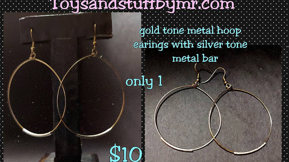 Gold tone metal hoop earrings