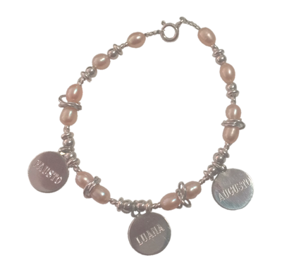 Pulsera perlas rosa personalizada