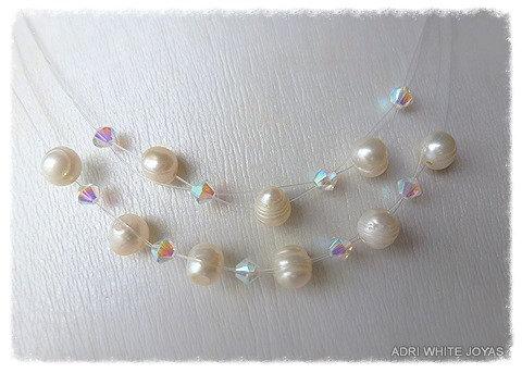 Perlas y Cristal tornasolado Swarovski