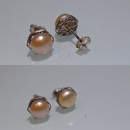 Caravanas de perlas naturales