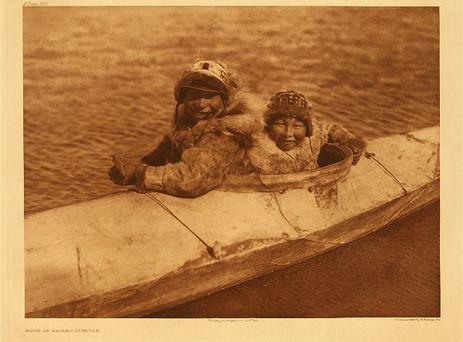 BOYS IN KAIAK, Nunivak