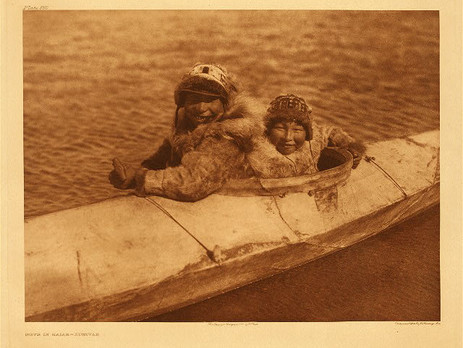BOYS IN KAIAK, Nunivak