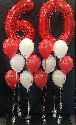 Age foil/latex balloon arrangement