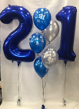 21st Numbered Balloon Bouquet