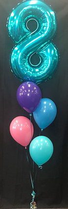 Single Numbered with 4 Plain Coloured Latex Balloons