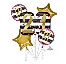 Pink & Gold 21st Balloon Bouquet