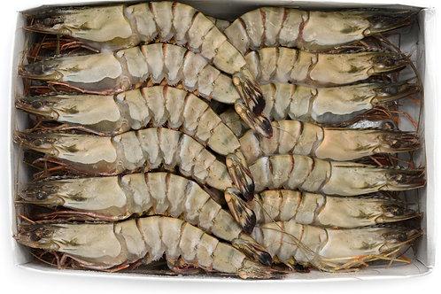 Креветки тигровые с головой с/м, размер: 16/20. Упаковка: 1 кг.