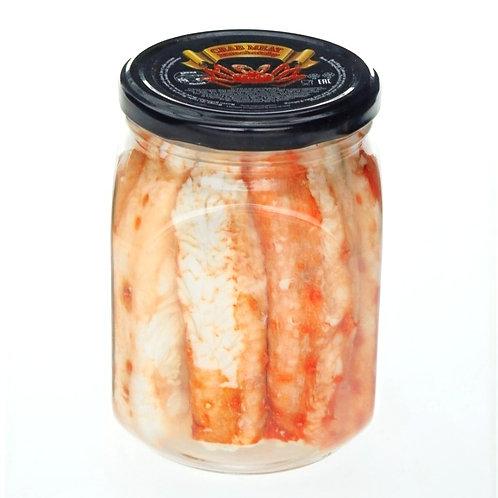 Мясо краба фаланга в солевой заливке стеклянной банке 480 гр.