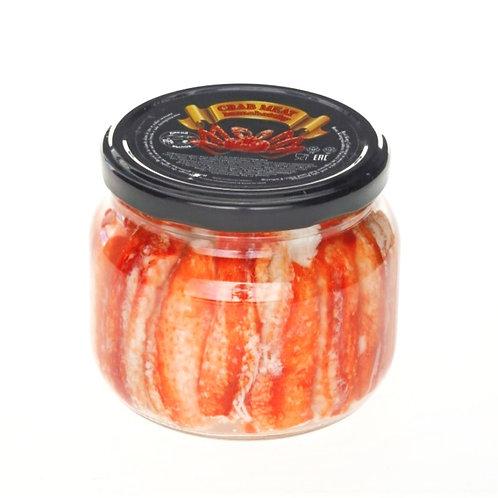 Мясо краба фаланга в солевой заливке стеклянной банке 220 гр.