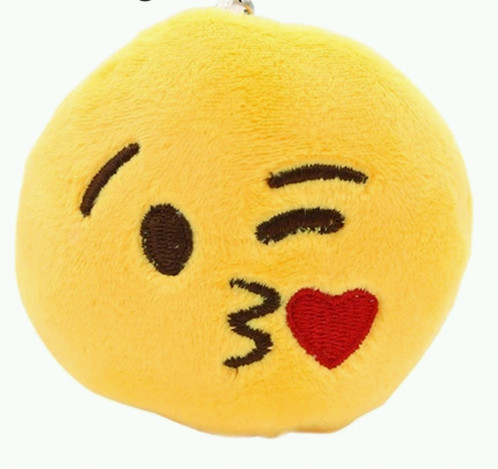 kiss emoji plushie charm keychain