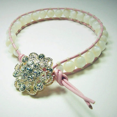 Leather Wrap Bracelet with Mother of Pearl Beads
