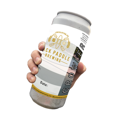 32oz Crowler showing Back Paddle Brewing logo in marigold with CROWLER in front of lake scene