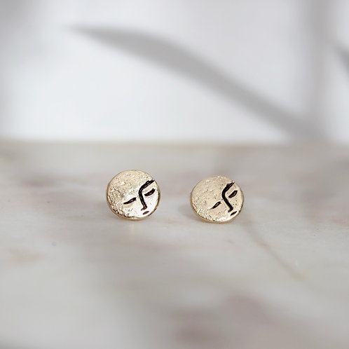 GOLD LITTLE MOON STUDS
