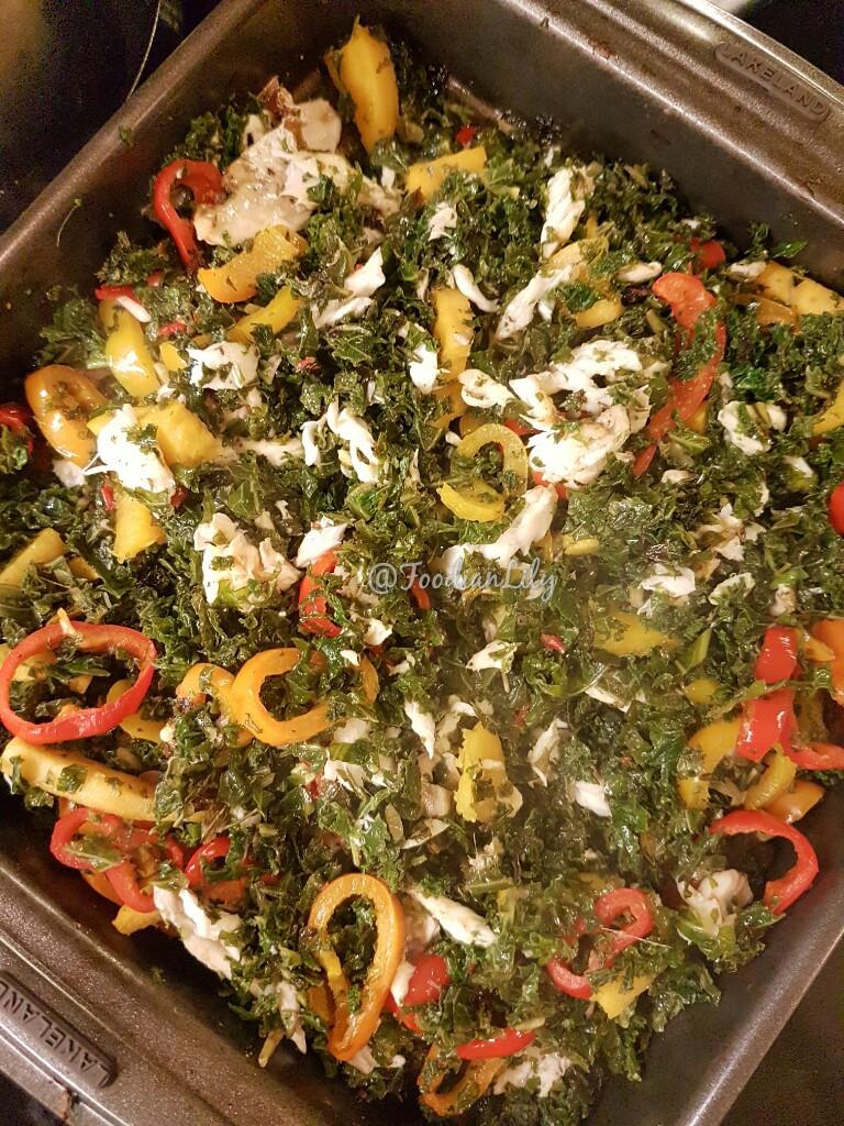 Fish and Kale Mix in baking pan