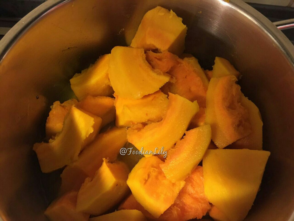 Peeled and Chopped pumpkin ready to cook