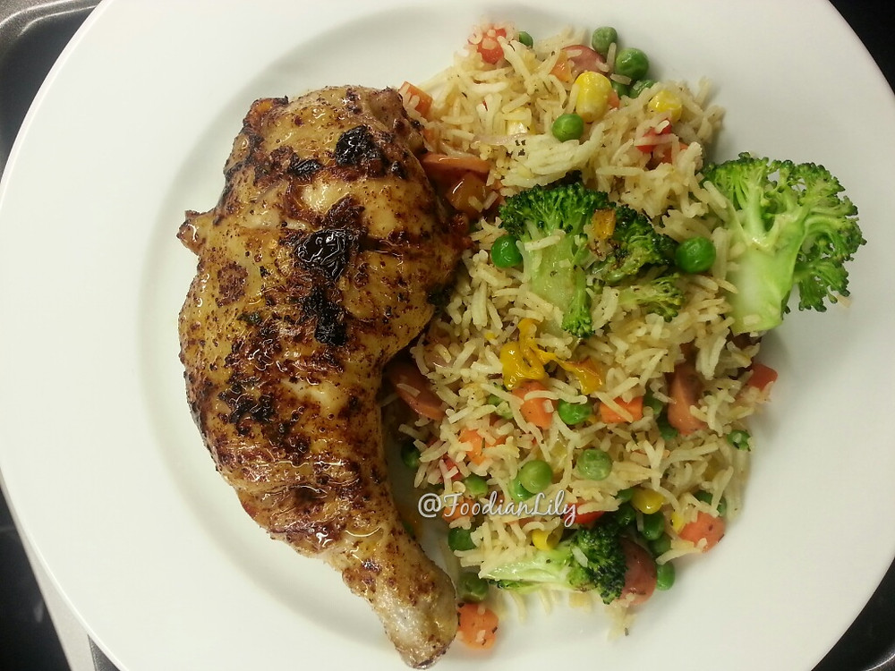 Simple butter chicken with fried rice and broccoli