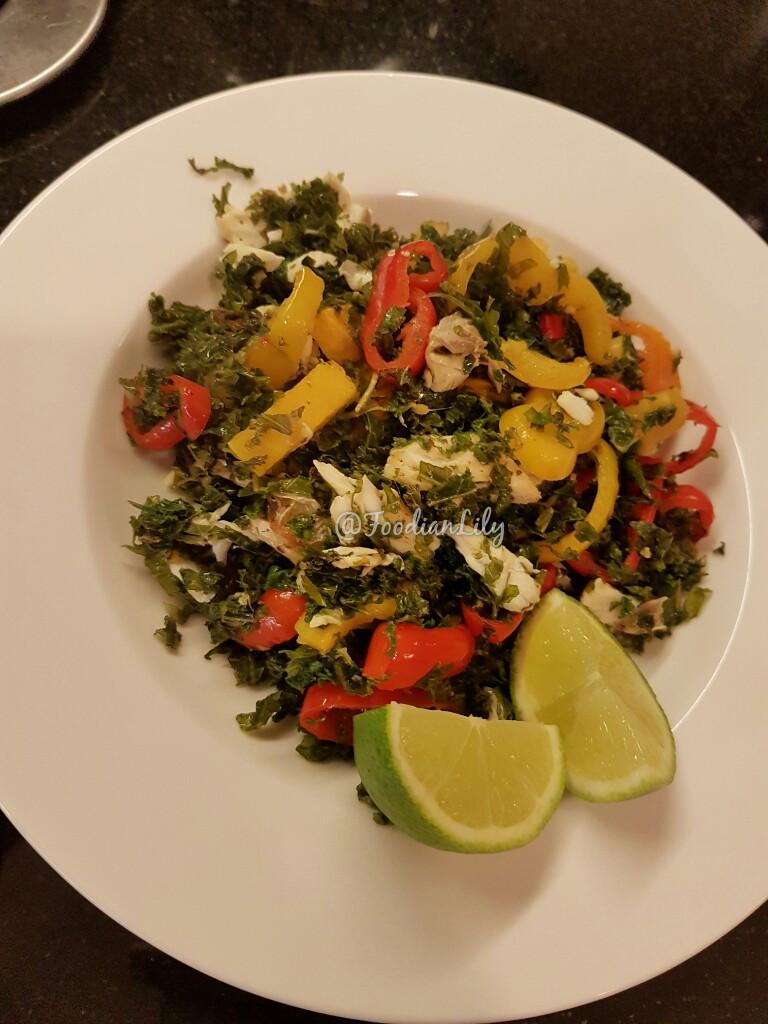Seabass and kale mix