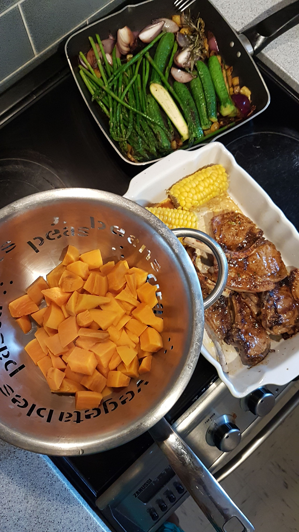 Sweet potato, corn, meat and vegetables