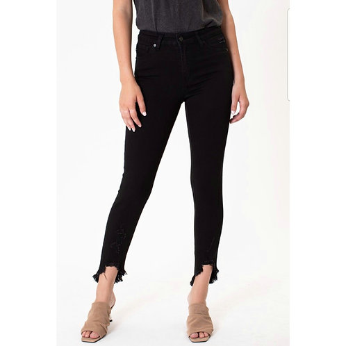 *KanCan Black Distressed Ankle Cut & Frayed Jeans