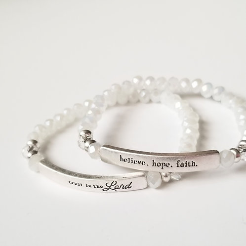 Beaded Stretch Bracelet w/Stamped Word Plate - Bright White