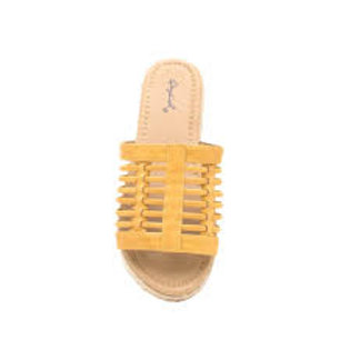 Qupid Dalisha Yellow Strappy Slides