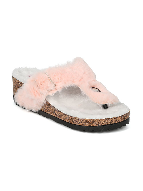Qupid Harrison Pink Faux Fur Slippers