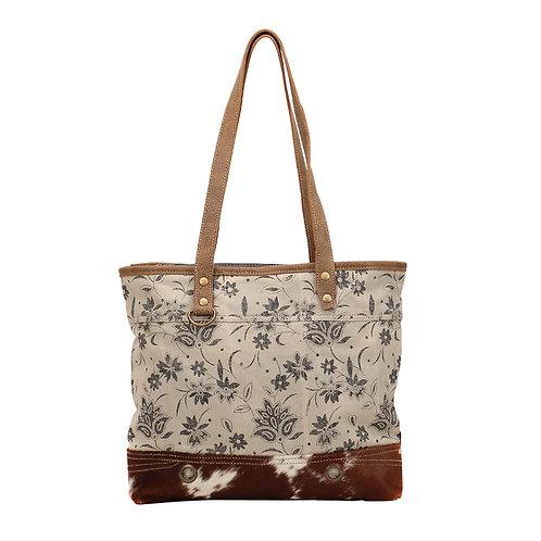 **Myra Bags Petal Print Canvas Tote Bag S-1426