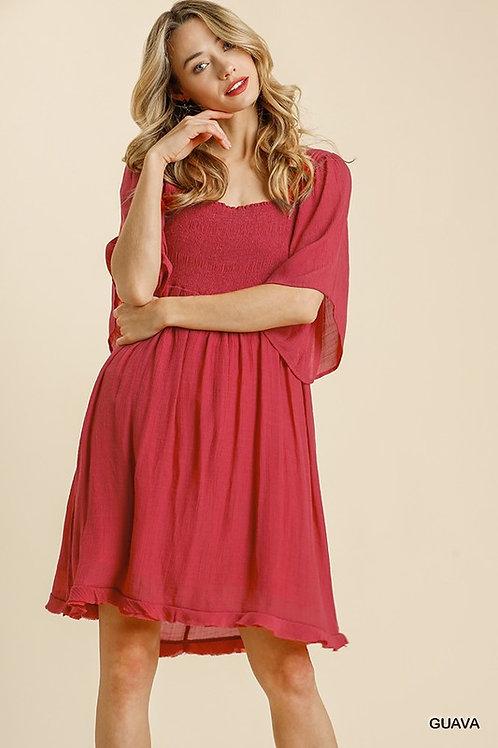 *Spring Blossoms Dress - Guava