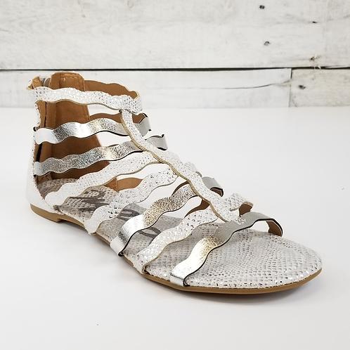 *Qupid Lana Silver Crinkle Gladiator Sandal