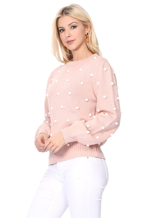 *Pom Pom Sweater-Blush