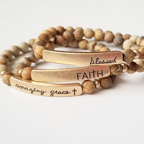 Beaded Stretch Bracelet w/Stamped Word Plate - Natural Brown