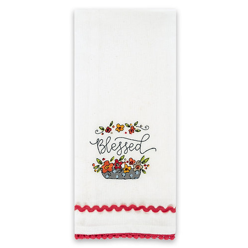 *Brownlow Embroidered Tea Towel with Ric Rac
