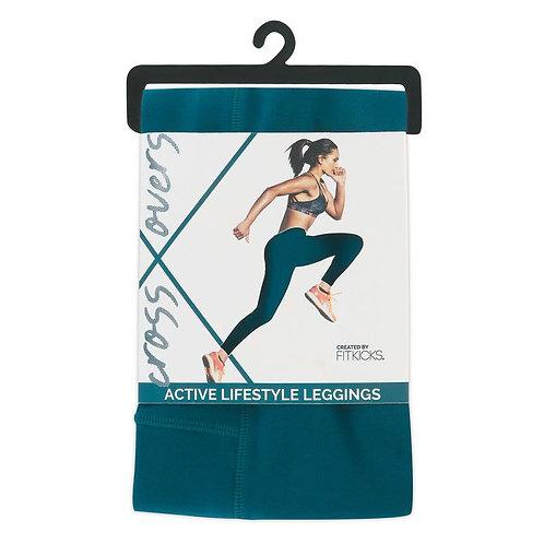 Fit Kicks Crossover Leggings-Teal
