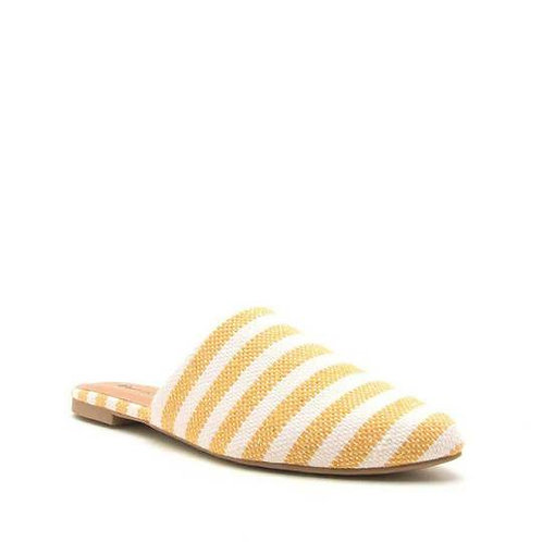 Qupid Swirl Yellow/White Striped Canvas Slide