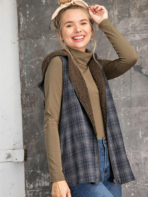 Perfectly Plaid Reversible Sherpa Vest