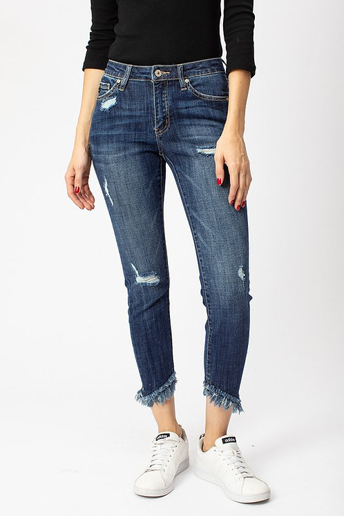 *KanCan Mid Rise Double Fringe Ankle Skinny Jean
