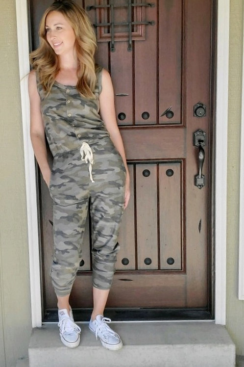 Camo Long Knit Jumpsuit with Waist Tie