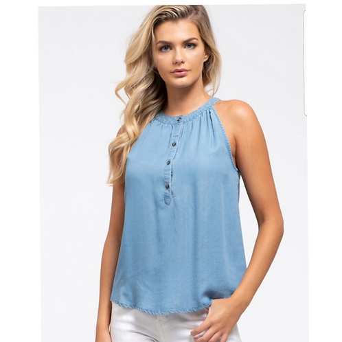 Show Your Shoulders Chambray Tank