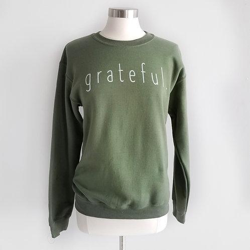 'Grateful' Army Green Sweatshirt