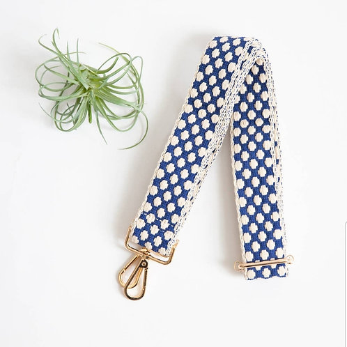 *Woven Guitar Shoulder Strap - Blue Dot