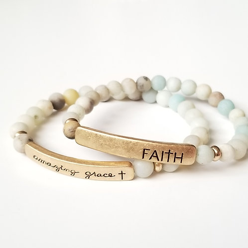 Beaded Stretch Bracelet w/Stamped Word Plate - Mint