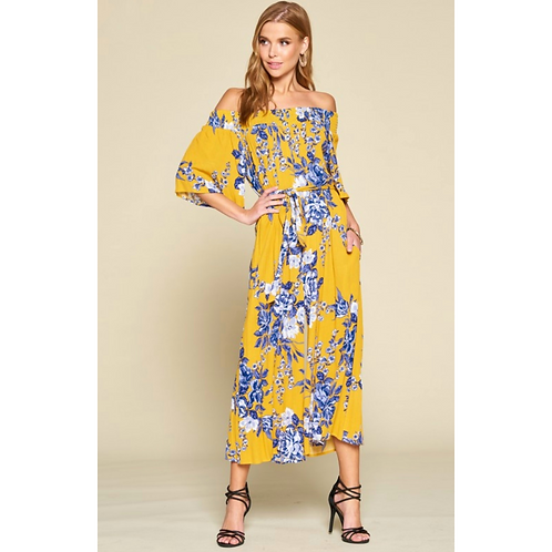 Yellow with Navy Floral Jumpsuit