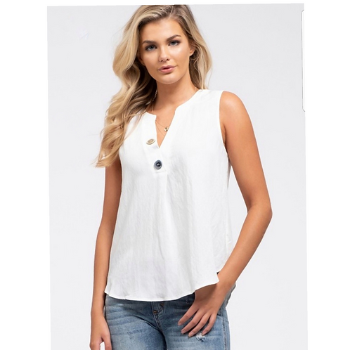 The Double Different Button Top - White