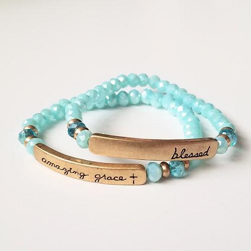 Beaded Stretch Bracelet w/Stamped Word Plate - Bright Mint